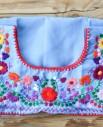 Tienda Elena - Blouse Tehuacan brodée - turquoise - manches droites - artisanat mexicain - Fait main - hecho en Mexico - style bohème chic - hippie