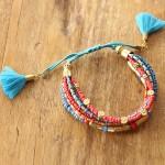 bracelet cancun - 1 - Tienda Elena - perles de rocaille - bleu et doré - bijou ethnique - bohème chic - indian spirit