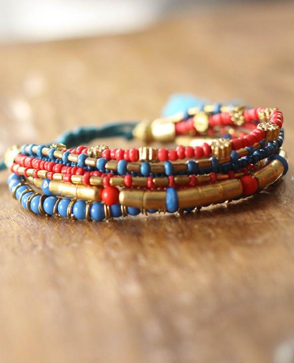 bracelet cancun - 2 - Tienda Elena - perles de rocaille - bleu et doré - bijou ethnique - bohème chic - indian spirit