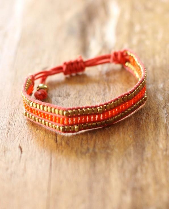 bracelet cozumel - 1 - Tienda Elena - perles de rocaille - corail et doré - bijou ethnique - bohème chic - navajo