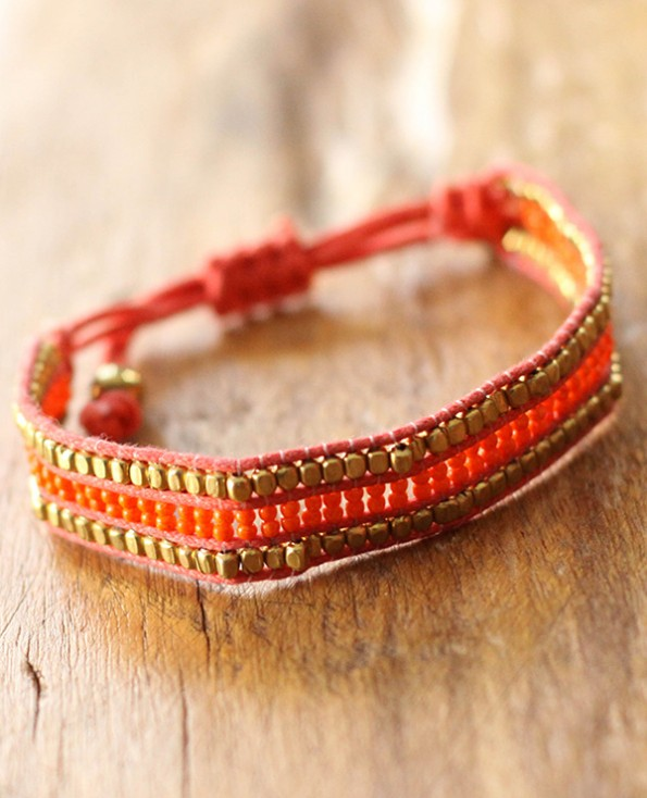 bracelet cozumel - 2 - Tienda Elena - perles de rocaille - corail et doré - bijou ethnique - bohème chic - navajo