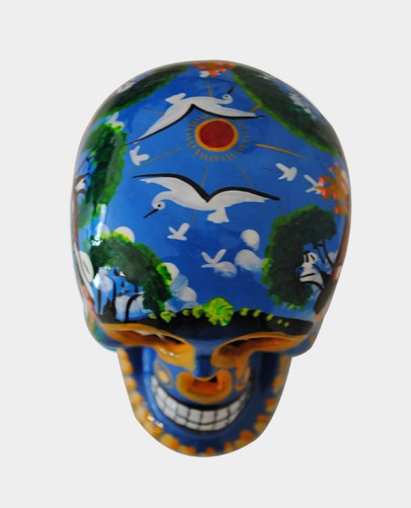 Tienda Elena - Crâne mexicain bleu - mettant en scène la vie agricole - Décoration et artisanat mexicain - Fait main - hecho en Mexico - 1