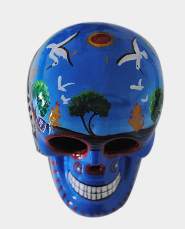 Tienda Elena - Crâne mexicain bleu - mettant en scène la vie agricole - Décoration et artisanat mexicain - Fait main - hecho en Mexico - 2