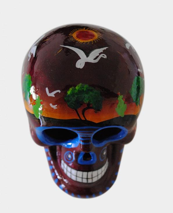 Tienda Elena - Crâne bordeaux - mettant en scène la vie agricole - Décoration et artisanat mexicain - Fait main - hecho en Mexico - 2