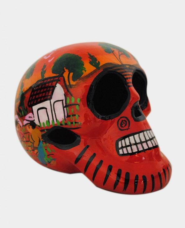 Tienda Elena - Crâne mexicain Orangé - Crâne paysage mexicain - Décoration et artisanat mexicain - Fait main - hecho en Mexico - 2
