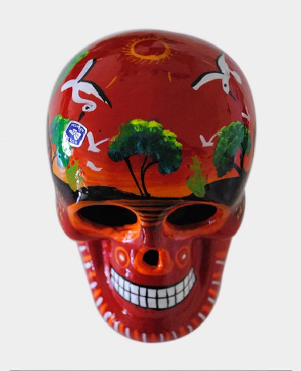 Tienda Elena - Crâne mexicain rouge - crâne mettant en scène la vie agricole - Décoration et artisanat mexicain - Fait main - hecho en Mexico