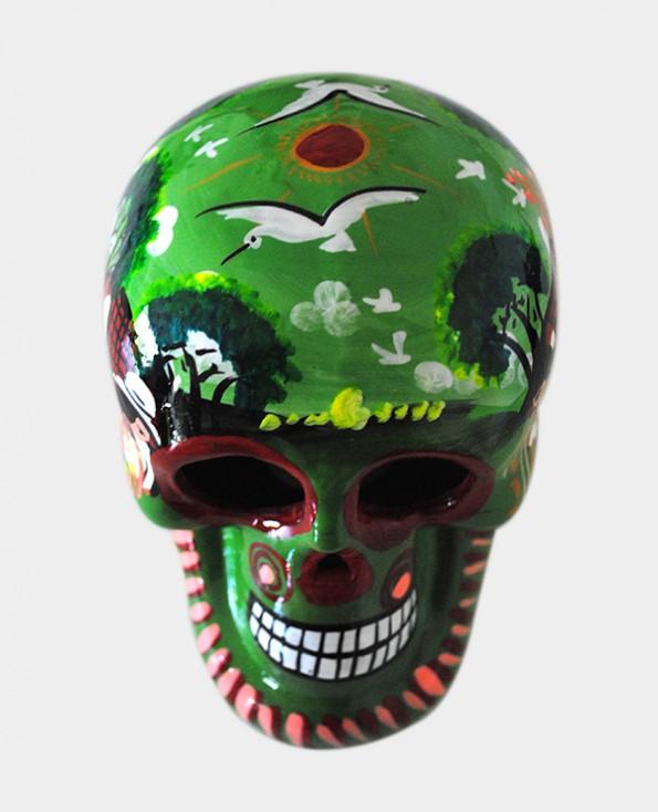 Tienda Elena - Crâne vert mettant en scène la vie agricole - Décoration et artisanat mexicain - Fait main - hecho en Mexico