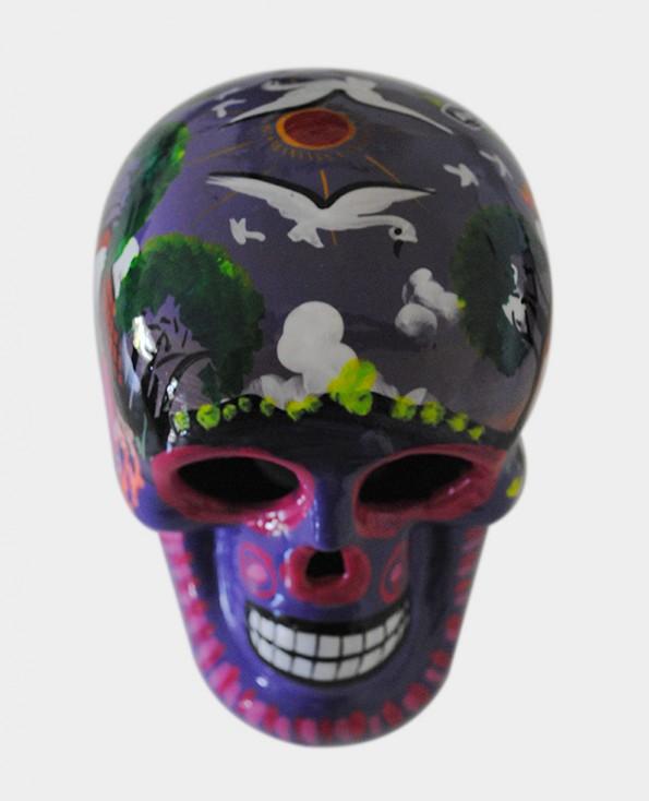 Tienda Elena - Crâne violet mettant en scène la vie agricole - Décoration et artisanat mexicain - Fait main - hecho en Mexico