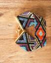 manchette yucatan - 1 - Tienda Elena - perles de rocaille - multicolore et doré - bijou ethnique - bohème chic - navajo