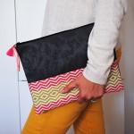 Pochette aztèque rose - rose & grise - 1 - Tienda Elena - fait main - motifs aztèques - bohème chic
