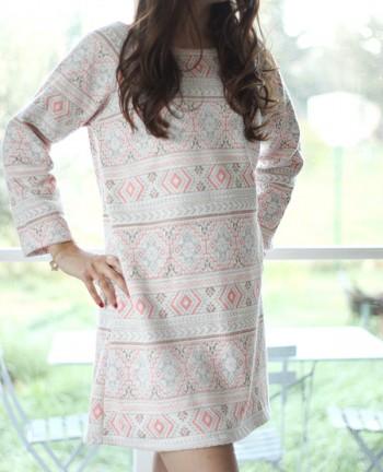 Tienda Elena - robe-2 - rose saumon - motifs aztèques - inspiration mexicaine - tendance ethnique - bohème chic