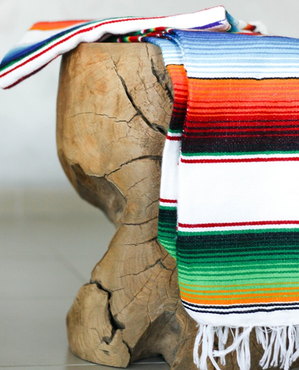 Tienda Elena - Sarape mexicain - couleur principale blanc - Décoration et artisanat mexicain - Fait main - Hecho en Mexico