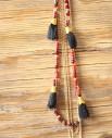 Tienda Elena - sautoir Azteque 1 - rouge et noir avec pompon - bijou ethnique - perles de rocaille - bohème chic