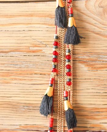 Tienda Elena - sautoir-azteque-2 - rouge et noir avec pompon - bijou ethnique - perles de rocaille - bohème chic
