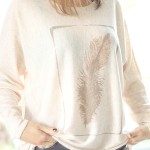 Tienda Elena - top-motif-plume-1 - dorée - beige - tendance gipsy - bohème
