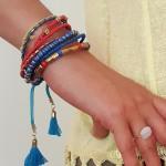 bracelet cancun - 3 - Tienda Elena - perles de rocaille - bleu et doré - bijou ethnique - bohème chic - indian spirit