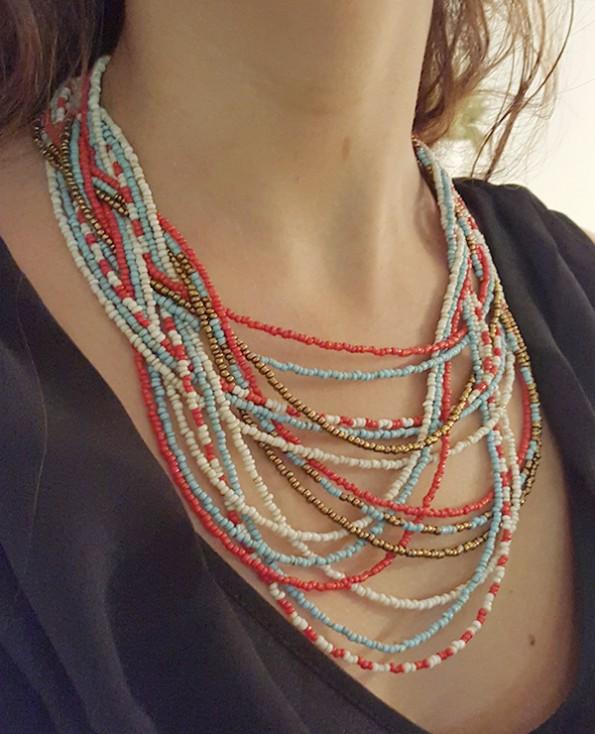 Tienda Elena - collier Maya 3 - entrelacé - perles de rocaille - bijou ethnique - indian spirit