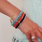 Manchette Michuacan - 3 - Tienda Elena - perles naturelles - bleu, corail, noir et argenté - bijou ethnique - bohème chic - indian spirit