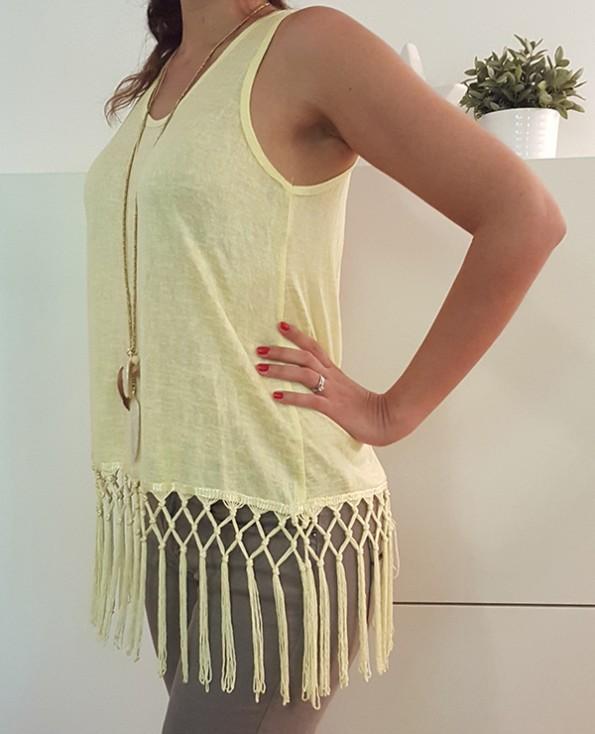 Tienda Elena - Mode et inspiration mexicaine - top franges - jaune - 2 - bohème chic