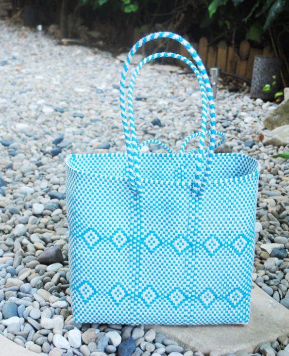 Tienda Elena - grand cabas bleu ciel - ethnique -hecho en mexico - fait main - accessoires - 3
