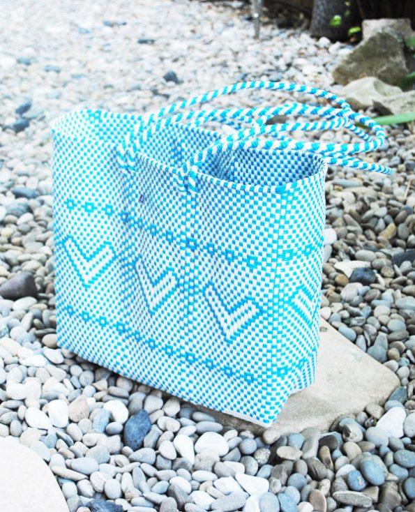 Tienda Elena - grand cabas bleu ciel - ethnique -hecho en mexico - fait main - accessoires - 4