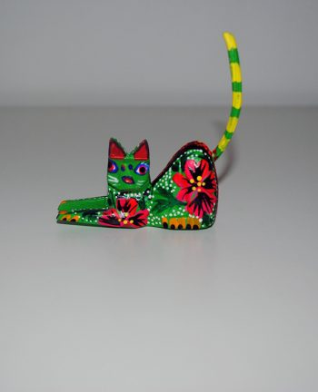 Tienda Elena - Mini figurine bois Chat - Mini Alebrijes chat - Fait main - hecho en mexico - colorés - Mexique - 2
