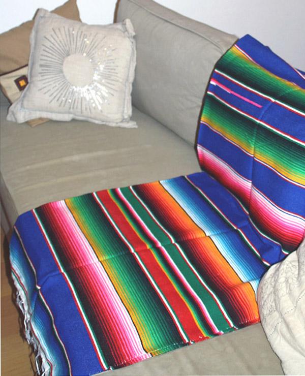 Tienda Elena - sarape mexicain bleu - Décoration et artisanat mexicain - Fait main - Hecho en Mexico - 1