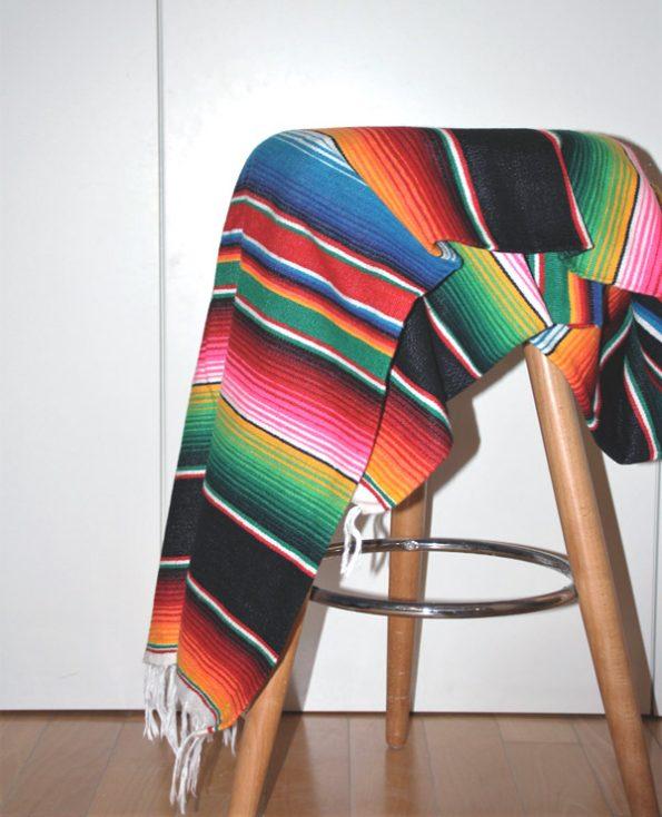 Tienda Elena - Sarape noir mexicain - Décoration et artisanat mexicain - Fait main - Hecho en Mexico - 1