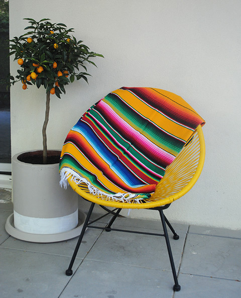 Tienda Elena - Sarape jaune - Décoration et artisanat mexicain - Fait main - Hecho en Mexico - 3