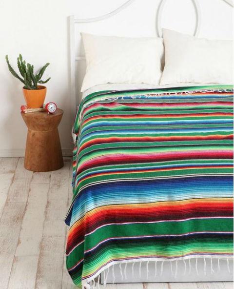 Tienda Elena - Couverture mexicaine verte - Mode et inspiration mexicaine - déco colorée - sarape mexicain - sarape vert - hecho en mexico - mexique - 2