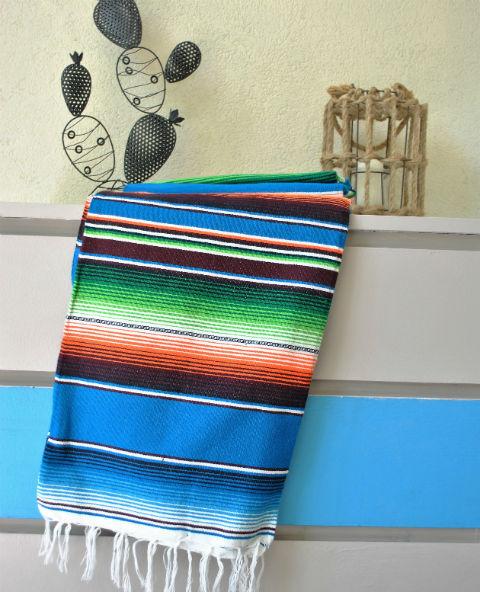 Tienda Elena - Couverture mexicaine turquoise - Sarape turquoise - Décoration et artisanat mexicain - Fait main - Hecho en Mexico - 2
