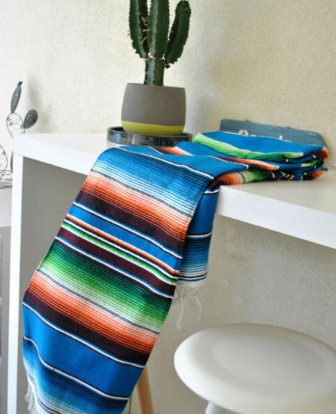 Tienda Elena - Sarape turquoise - Décoration et artisanat mexicain - Fait main - Hecho en Mexico - 1