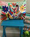 Housse leon - Tienda Elena - 2 - Housse Otomi brodée - fait main - colorée - Hecho en Mexico - artisanat et créateurs mexicains - Mexique - décoration intérieure