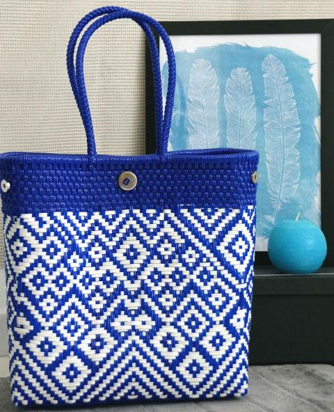 Tienda Elena - Mode et inspiration mexicaine - décoration et artisanat mexicain - fait main - hecho en Mexico - sac - cabas ethnique chic - cabas bleu et blanc - ethnique chic - tendance bohème chic