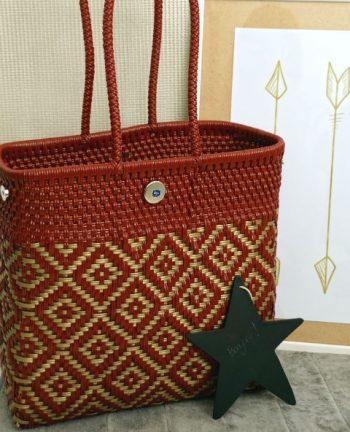 Tienda Elena - Mode et inspiration mexicaine - décoration et artisanat mexicain - fait main - hecho en Mexico - sac - cabas ethnique chic - cabas losanges bordeaux - ethnique chic - tendance bohème chic - 2