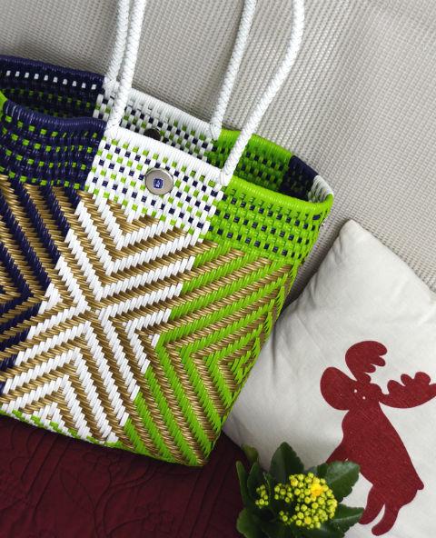 Tienda Elena - Mode et inspiration mexicaine - décoration et artisanat mexicain - fait main - hecho en Mexico - sac - cabas ethnique chic - cabas vert blanc doré - ethnique chic - tendance bohème chic - 2