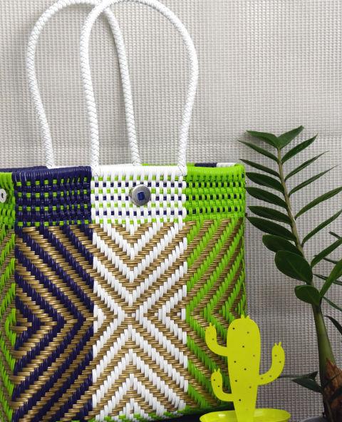 Tienda Elena - Mode et inspiration mexicaine - décoration et artisanat mexicain - fait main - hecho en Mexico - Sac cabas mexicain tissé ethnique chic vert blanc motifs dorés - tendance bohème chic - 1