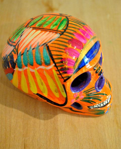 Tienda Elena - Calavera orange - Décoration et artisanat mexicain - Fait main - hecho en Mexico - 2