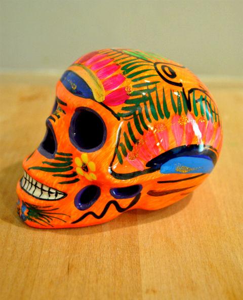 Tienda Elena - Crâne mexicain en céramique orange - Calavera orange - Décoration et artisanat mexicain - Fait main - hecho en Mexico - 1