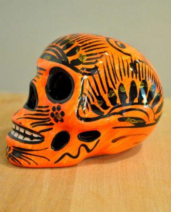Tienda Elena - Calavera orange et noire - Décoration et artisanat mexicain - Fait main - hecho en Mexico - 1