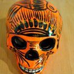 Tienda Elena - Calavera orange et noire - Décoration et artisanat mexicain - Fait main - hecho en Mexico