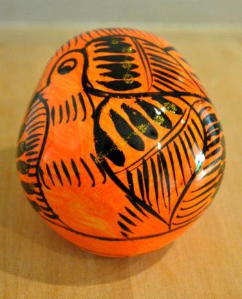 Tienda Elena - Calavera orange et noire - Décoration et artisanat mexicain - Fait main - hecho en Mexico - 2