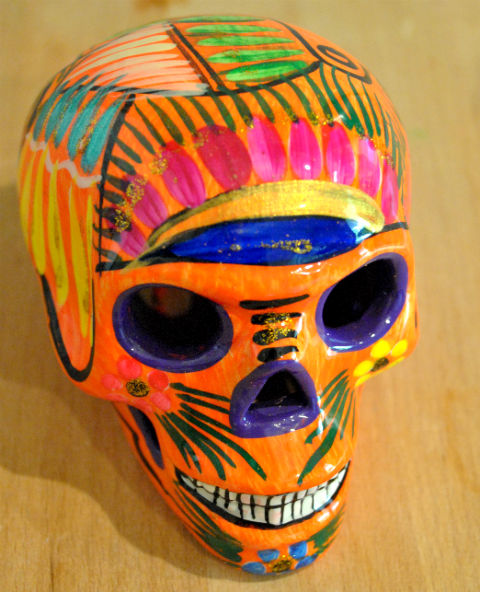Tienda Elena - Calavera orange - Décoration et artisanat mexicain - Fait main - hecho en Mexico