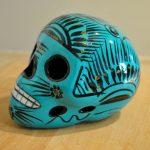 Tienda Elena - Crâne mexicain en céramique vert canard - Calavera vert canard - Décoration et artisanat mexicain - Fait main - hecho en Mexico - 1