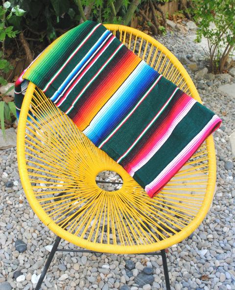 Tienda Elena - Sarape émeraude - Décoration et artisanat mexicain - Fait main - Hecho en Mexico - 2