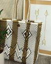 Tienda Elena - Mode et inspiration mexicaine - décoration et artisanat mexicain - fait main - hecho en Mexico - Sac cabas mexicain tissé ethnique chic blanc et doré - tendance bohème chic - 1