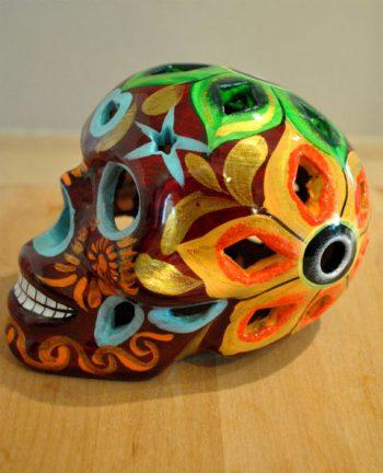 Tienda Elena - Calavera bordeaux yeux bleus - Décoration et artisanat mexicain - Fait main - hecho en Mexico - 1