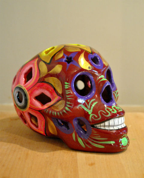 Tienda Elena - Calavera bordeaux yeux violés - Décoration et artisanat mexicain - Fait main - hecho en Mexico - 1
