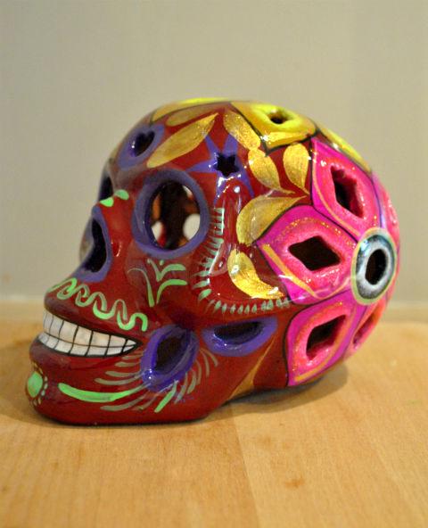 Tienda Elena - Calavera bordeaux yeux violés - Décoration et artisanat mexicain - Fait main - hecho en Mexico - 2