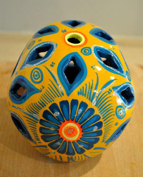 Tienda Elena - Calavera jaune et bleue - Décoration et artisanat mexicain - Fait main - hecho en Mexico - 3